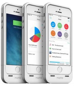 3 x Mophie Space Pack iPhone Speicher Hülle weiß mit App Ansicht