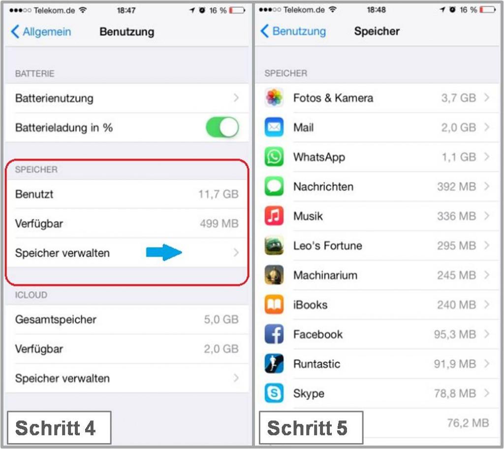 iPhone Speicherplatz anzeigen Schritt 4, 5